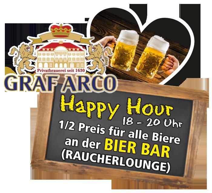 Happy Hour: 18.00 - 20.00 Uhr